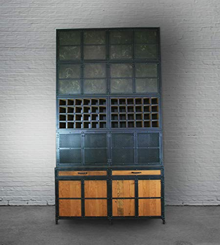 Industrial Back Bar Cabinet. Reclaimed Wood and Steel Cabinet. Vintage Restaurant and Bar Furniture. Storage. Custom Liquor/Wine Cabinet.