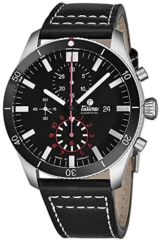 Tutima Grand Flieger Airport Chronograph Mens Automatic Watch – 43mm Black Face with Luminous Hands, Date and Sapphire Crystal – Stainless Steel Black Leather Band Watch Made in Germany 6401-01