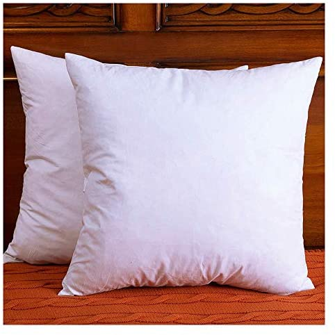 DOWNIGHT Set of 2, Cotton Fabric Throw Pillow Inserts, Down and Feather Decorative Pillow Insert, Please Choose The Correct Size Pillow Inserts, 18X18 Inches.