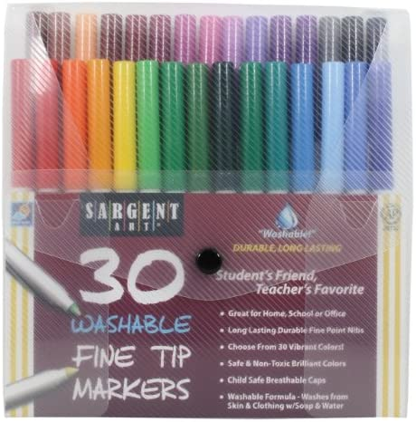 Sargent Art 22-1582 30-Count Fine Tip Washable Marker Packs