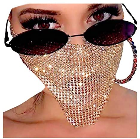 Barode Sparkly Rhinestone Mask Chain Crystal Masquerade Masks for Women