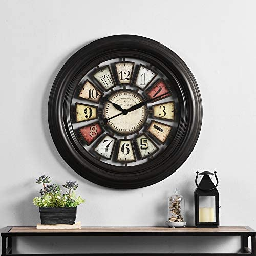 FirsTime & Co. Industrial Chic Wall Clock, 29″, Oil Rubbed Bronze