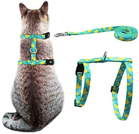 azuza Cat Harness and Leash for Walking, Escape Proof Cute Lemons in Bright Color, Soft Adjustable Harness for Cats