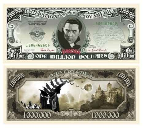 American Art Classics Dracula Million Dollar Bill with Bill Protector
