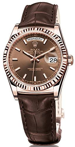 Rolex Day-Date President 36 Everose Gold Watch Brown Leather Strap 118135