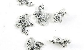 20 Pieces Antique Silver Tone Jewelry Making Charms Pendant Findings Craft Supplies Bulk Lots Arts A3NH8 Dragon