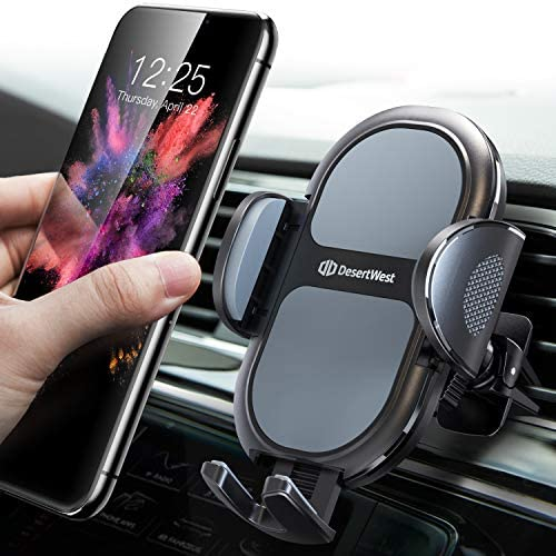 [2020 Upgrade] Universal Car Phone Mount, DesertWest Air Vent Cell Phone Holder for Car, [Noise-Free] Cradle Compatible with iPhone 12 SE 11 Pro Max XR XS X, Samsung Galaxy Note 20 S20 S10 S9 Note 10
