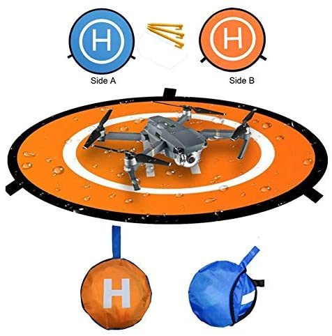 """Luminous Drone Landing Pad Glow in The Dark Waterproof 30"""" Universal Landing Pad Accessories Fast-fold Double Sided Quadcopter Landing Pad for RC Drones Helicopter PVB Drones DJI Mavic Pro Spark"""