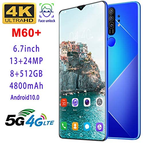 Mobile Phone, M60 + Android 10.0, Unlocked 5G Smartphone SIM Free Call, 6.7-inch Full Screen, 4800mAh Large Battery Fast Charging, 13MP 24MP Camera, 8GB 512GB, Face Recognition, 10-core