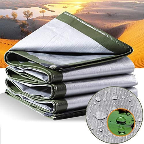 MAHFEI Tarpaulin Waterproof Heavy Duty, Waterproof Sheet Sunshades Depot with Metal Holes Tear Resistance for Camping Tent Boat RV Or Pool Cover (Color : Silver, Size : 6x6m)