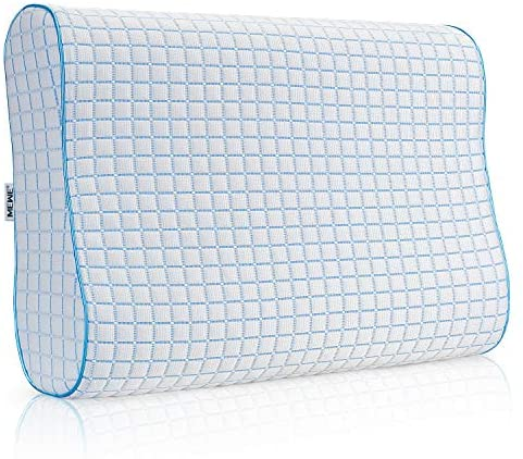 MEWE Cooling Pillows Memory Foam Pillows Cool Orthopedic Pillow for Side Back Stomach Sleepers Pillows Neck Pain with Cooling Washable Cover (24 x 16 x 3.7/4.7Inch)