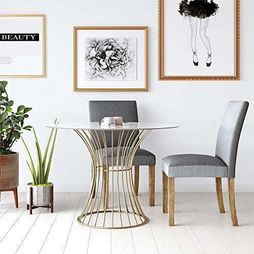 CosmoLiving Westwood Modern Clear Tempered Glass Round Top Dining Table with Hourglass Gold Base – Brass