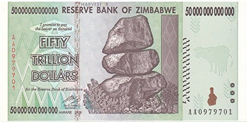 2008 No Mint Mark Zimbabwe $50 Trillion Dollar Banknote – AA/2008 Series Pick-90 Uncirculated – WORLD'S SECOND LARGEST DENOMINATION BANKNOTE! $50 Trillion Dollars Seller Brilliant Uncirculated