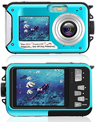 Underwater Camera for Snorkeling, Waterproof 2.7K 24MP Digital Camera, HD Rechargeable Camera with Dual Screen for Camping, Underwater, Swiming, Underwater Camera
