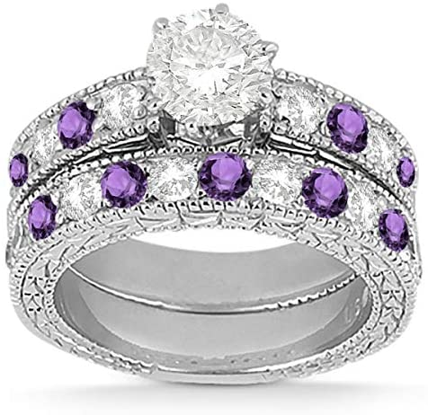 Antique Band Bridal Set Diamond and Amethyst Engagement Ring and Band 18k White Gold (1.80ct