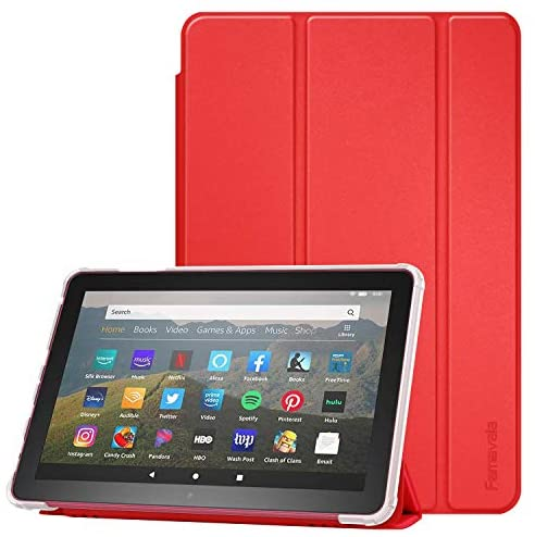 Famavala Flexible Back Frosted Case Cover Compatible with All-New 8″ Fire HD 8 / Plus (10th Generation 2020 Release) Tablet (Red)