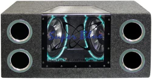 1000W Dual Bandpass Speaker System – Car Audio Subwoofer w/ Neon Accent Lighting, Plexi-Glass Front Window w/ 4 Tuned Ports, Silver Polypropylene Cone & Rubber Edge Suspension – Pyramid BNPS102