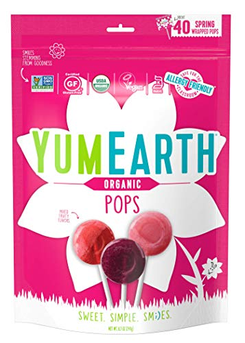 YumEarth Organic Easter Lollipops, Fruit Flavored Pops, 40 Count – Allergy Friendly, Non GMO, Gluten Free, Vegan