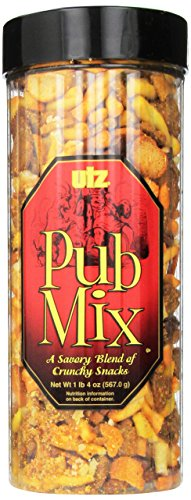 Utz Pub Mix – 20 Ounce Barrel – Savory Snack Mix, Blend of Crunchy Flavors for a Tasty Party Snack – Resealable Container – Cholesterol Free and Trans-Fat Free