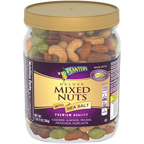 PLANTERS Deluxe Mixed Nuts with Sea Salt, 27 oz. Resealable Container – Variety Mixed Nuts Snacks with Cashews, Almonds, Pecans, Pistachios & Hazelnuts – Energy Boost – Kosher
