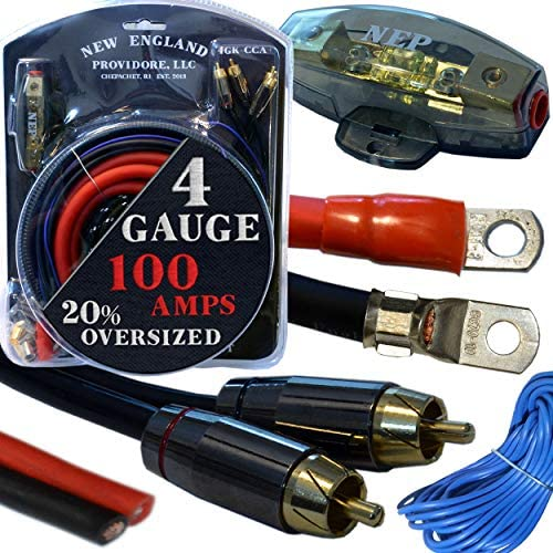 20 Foot 4 Gauge Amp Kit Featuring 20% Oversized Cables – Complete 12V Audio Amplifier Installation & Wiring Kit