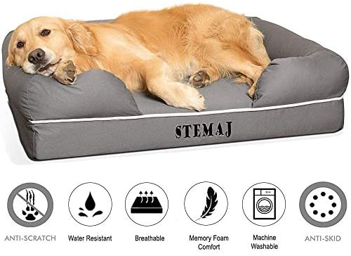 STEMAJ Orthopedic Dog Bed, Premium Memory Foam, Large Dog Bed, 36″x28″ Size, Color Gray, with Waterproof Liner, Removable Cover