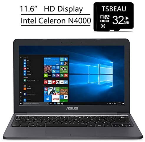 "ASUS VivoBook L203MA Laptop, 11.6"" Nontouch Display, Intel Celeron N4000, 4GB RAM, 64GB Storage, Windows 10 Home in S Mode, One Year of Microsoft 365, Bundled with TSBEAU 32GB Micro SD Card"