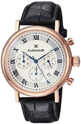 Thomas Earnshaw Men's Beaufort Stainless Steel Japanese-Quartz Watch with Leather Strap, Black, 22 (Model: ES-8051-02)