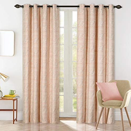Drapery Bazaar Linen Blended Blackout Window Curtain Panels Room Darkening Curtains, Light Blocking for Living Room & Bedroom, Steel Grommet Top Linen Geometric Pink Drapes (52 by 84 Inch, Set of 2)