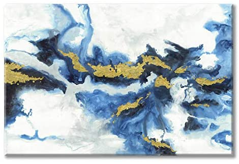 Modern Abstract Canvas Wall Art: Blue Artwork Picture Painting on Canvas for Room Decor
