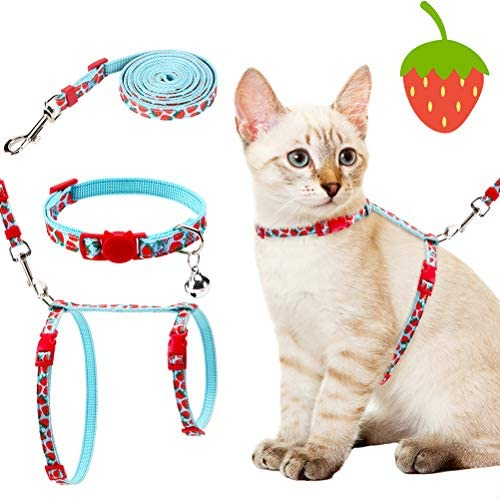 PAWCHIE Cat Harness with Leash and Collar Set – Escape Proof Adjustable H-shped Cat Vest, Soft Comfortable Strap for Cats Outdoor Walking