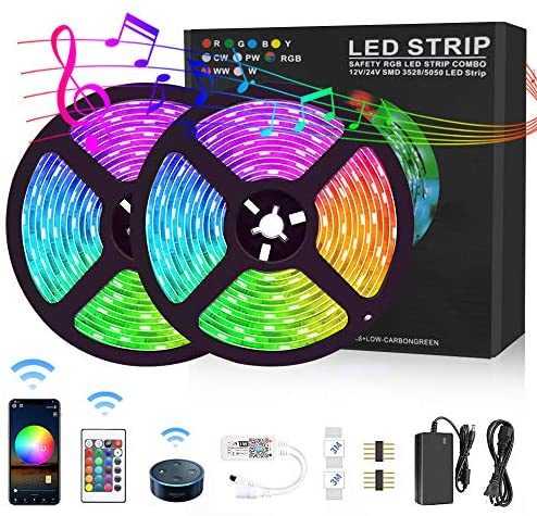 Harmonic LED Strip Lights Works with Alexa WiFi LED Light Strip, 32.8ft APP Control Waterproof Strip Light with Remote Color Changing Rope Lights for TV Backlight, Kitchen, Bedroom, Party Decoration