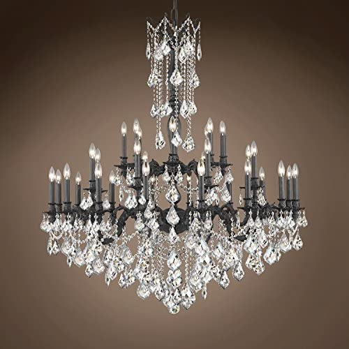 Traditional Versailles 32 Light 48″ Crystal Chandelier, Dark Bronze Frame with Clear Swarovski Crystals, Hanging Ceiling Light