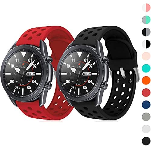 YPSNH 22mm Quick Release Watch Bands for Samsung Galaxy Watch 3 45mm/Watch 46mm/Gear S3, Wristband Accessory for Men Women(Black+Red)