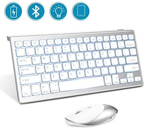 Jelly Comb Backlit Bluetooth Keyboard and 2.4 G+ Bluetooth Mouse Combo for iPad 10.2, iPad Pro 10.5/11/12.9, iPad 5 Gen&Later, iPad Air 3/2 Gen,iPad 7/6/5 Gen, iPad Mini 4th Gen&Later, iPhone, White