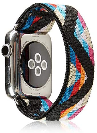 Elastic Band Compatible for Apple Watch, Scrunchie Stretch Wristbands Replacement Bracelet Loop Sport Strap for iWatch Series 1 2 3 4 5, Men Women Girls, Bohemia, 38/40mm, M