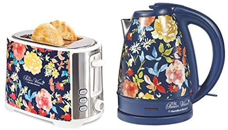 The Pioneer Woman Extra-Wide|2 Slice Toaster|Fiona Floral bundle with The Pioneer Woman| 1.7 Liter Electric Kettle|Fiona Floral