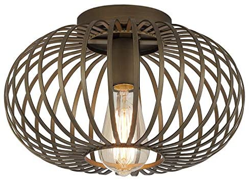 Farmhouse Antique Gold Flush Mount Ceiling Light Industrial Rustic Metal Cage Semi Flush Mount Light Fixture for Hallway Living Room Kitchen Entryway Bedroom