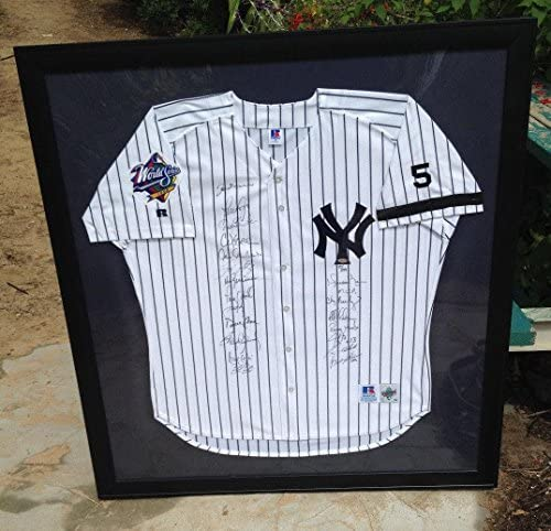 1999 Yankees Baseball Team Signed Autograph AUTO FRAMED Jersey STEINER – Autographed MLB Jerseys