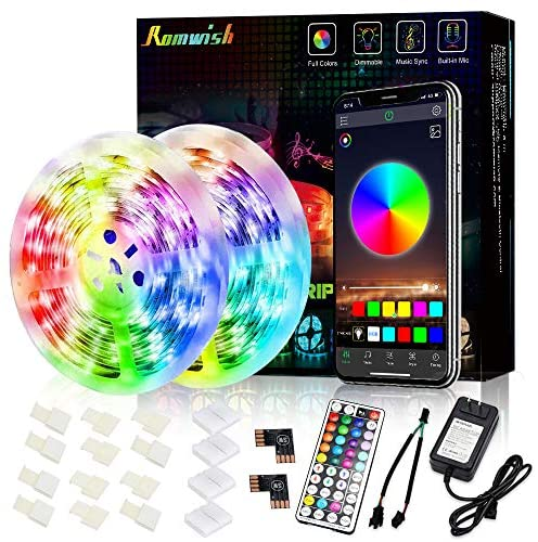 Romwish 32.8ft LED Strip Lights,Music Sync Color Changing RGB Flexible Black Board Light Strip, 44 Keys RF Remote, Built-in Mic, Bluetooth Controller, Timing Function for Bedroom, Kitchen Decoration