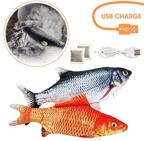 CHARMINER 2 Pack Electric Cat Fish Toy, Realistic Moving Fish Cat Toy Simulation Catnip Kicker Toys, Interactive Fish Cat Toys for Indoor Cats, Biting, Chew, Kick