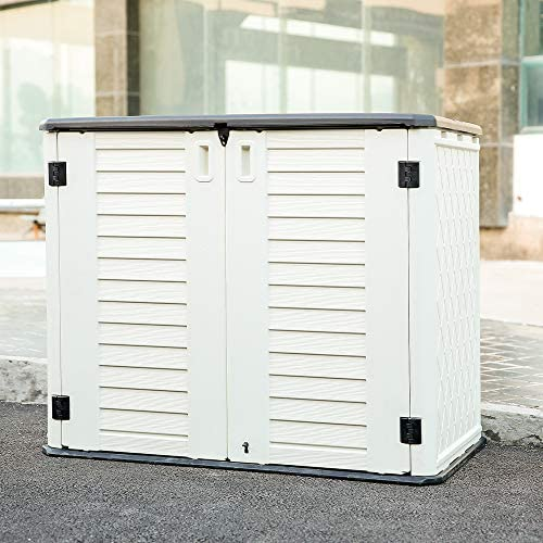 Kinying Horizontal Outdoor Storage Shed for Garden, Patios, Backyards, Multiple Opening Directions Convenient Storage Garbage Cans, Tools, Lawn Mower, Bike, Waterproof Plastic Storage Box, Off-White