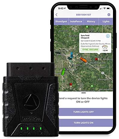 LandAirSea Sync GPS Tracker – USA Manufactured. 1 Year Service Included. 4G LTE Real-Time OBD Vehicle and Fleet Tracking Device.