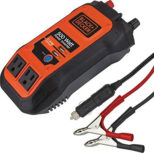 BLACK+DECKER PI500B 500W Power Inverter: Dual 120V AC Outlets, 3.1A USB Ports, 12V DC Adapter, Battery Clamps