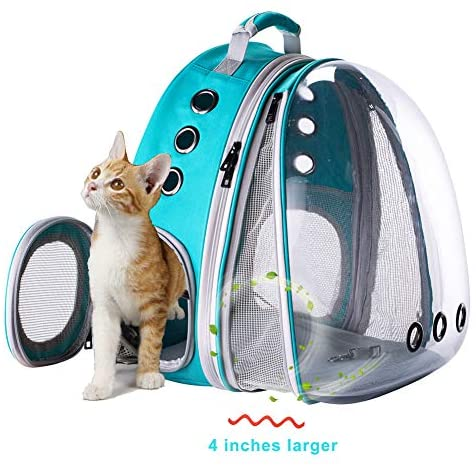 halinfer Expandable Cat Backpack, Space Capsule Bubble Transparent Clear Pet Carrier for Small Dog, Pet Carrying Hiking Traveling Backpack
