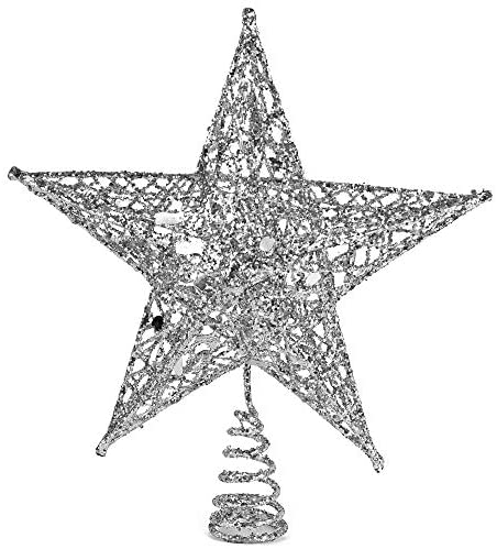 Ornativity Silver Star Tree Topper – Christmas Glitter Star Ornament Treetop Decoration