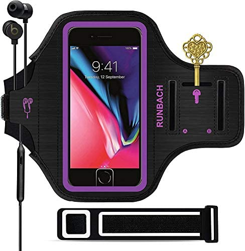 iPhone 8 Plus/iPhone 7 Plus Armband,RUNBACH Sweatproof Running Exercise Gym Cellphone Sportband Bag with Fingerprint Touch/Key Holder and Card Slot for iPhone 7/8 Plus(Purple)