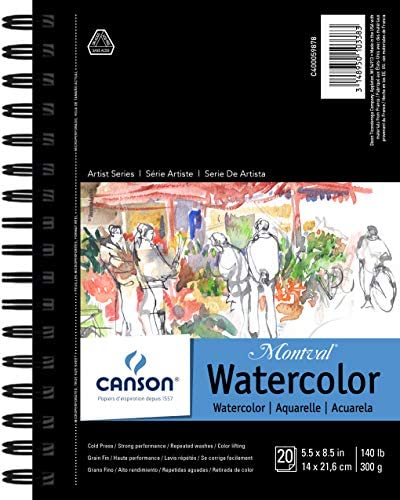 Canson Artist Series Watercolor Pad, 5.5″ x 8.5″ Side Wire