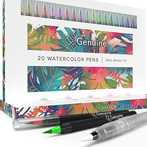 Watercolor Brush Pens by Genuine Crafts – Set of 20 Premium Colors – Real Brush Tips – No Mess Storage Case – Washable Nontoxic Markers – Portable Painting