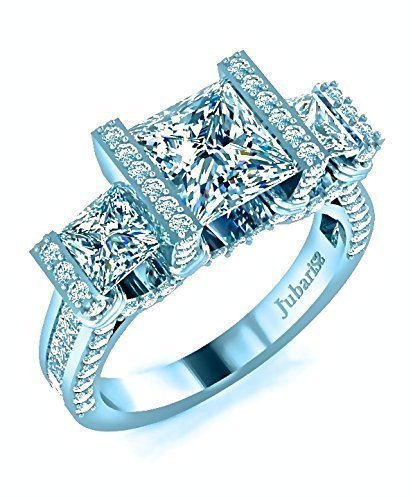 3 Stone Princess Cut Engagement Ring 2.52 Ctw. Diamond Tension Set Channel Shank Custom Jubariss 18K White Gold